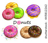 color donuts with powder  | Shutterstock .eps vector #445812262