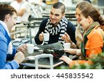 group of friends drinking... | Shutterstock . vector #445835542
