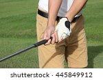 man preparing to grip a golf... | Shutterstock . vector #445849912