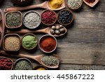 Spices Selection In Spoons And...