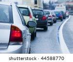 traffic jam in flooded highway... | Shutterstock . vector #44588770