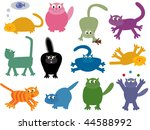 collection of funny cats | Shutterstock .eps vector #44588992