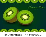 cute set with cartoon kiwi and... | Shutterstock .eps vector #445904032