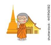 buddhist monk walking with... | Shutterstock .eps vector #445906582