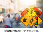 set of traffic sign on blur... | Shutterstock . vector #445910746