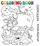 coloring book shipwreck with... | Shutterstock .eps vector #445916002