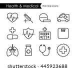 medical and health thin line... | Shutterstock .eps vector #445923688