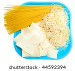 three different kinds of pasta... | Shutterstock . vector #44592394