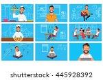 set scenes character man. flat... | Shutterstock .eps vector #445928392