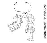 freehand drawn speech bubble... | Shutterstock .eps vector #445928992