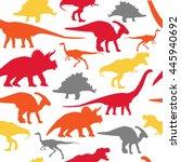 dinosaurs silhouette seamless... | Shutterstock .eps vector #445940692