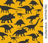 dinosaurs silhouette seamless... | Shutterstock .eps vector #445940782