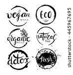 labels with vegetarian and... | Shutterstock .eps vector #445967695