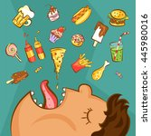 fast food addiction concept.... | Shutterstock .eps vector #445980016