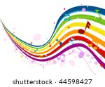 Musical Wave in Rainbow Colors - Vector - stock vector