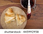 croissant with cherry marmalade ... | Shutterstock . vector #445992958