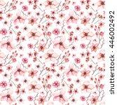 watercolor light red flowers... | Shutterstock . vector #446002492
