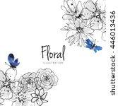 ink  pencil  watercolor flower... | Shutterstock . vector #446013436