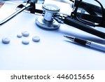 empty prescription  lying on... | Shutterstock . vector #446015656