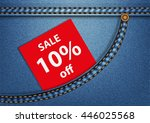 tag sale 10  in a blue denim... | Shutterstock .eps vector #446025568