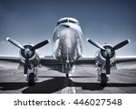 airplane on a runway | Shutterstock . vector #446027548