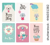 set of greeting cards with cute ... | Shutterstock .eps vector #446031382
