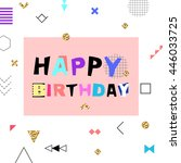 happy birthday colorful banner... | Shutterstock .eps vector #446033725