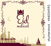 eid mubarak poster.... | Shutterstock .eps vector #446034592