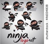 ninja logo set  | Shutterstock .eps vector #446034838