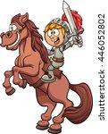 cartoon knight riding a horse.... | Shutterstock .eps vector #446052802