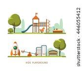 kids playground  city park....   Shutterstock .eps vector #446055412