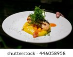special dish made with salmon... | Shutterstock . vector #446058958