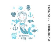 summer time  illustration with... | Shutterstock .eps vector #446075068
