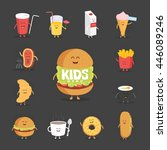 set of cute cartoon fast food... | Shutterstock .eps vector #446089246