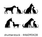 dog and cat silhouettes of... | Shutterstock . vector #446090428
