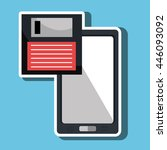 floppy disk with smartphone ... | Shutterstock .eps vector #446093092