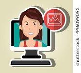 social marketing  user desktop... | Shutterstock .eps vector #446099092