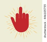 red hand with middle finger... | Shutterstock .eps vector #446105755