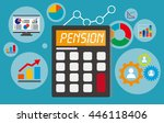 pension displayed on calculator ... | Shutterstock .eps vector #446118406