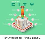 isometric smart city concept ... | Shutterstock .eps vector #446118652