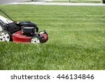 mowing the lawn in the front...   Shutterstock . vector #446134846