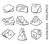 vector set of cheese isolated... | Shutterstock .eps vector #446139415