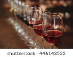 many glasses of different wine... | Shutterstock . vector #446143522