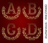 a  b  c  d vintage monograms in ... | Shutterstock .eps vector #446154682