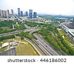 Small photo of Aerial photography bird-eye view of City viaduct bridge road streetscape landscape