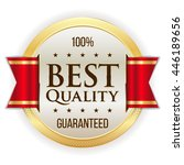 gold best quality button badge... | Shutterstock .eps vector #446189656