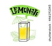 fresh limon juice  slice with... | Shutterstock .eps vector #446191045