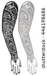maori style tattoo design | Shutterstock .eps vector #446198686