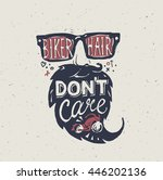 motorcycle rider . biker hair... | Shutterstock .eps vector #446202136