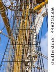 Small photo of Ropes and wood on the ship Amerigo Vespucci in Italy